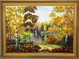 """Картина с янтарём """"Просека в лесу"""""""