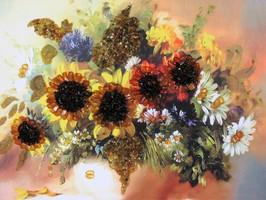 """Картина с янтарём """"Полевые цветы"""""""